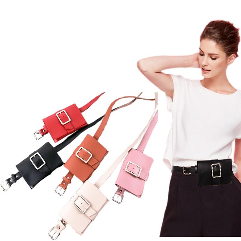 Crystal Fashion Women Waist Belt With Removable Wallet Bag Wallet Bag Key Case Ladies Leather Belt For Female Dress