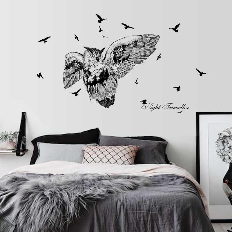 Owl silhouette birds large wall stickers art decals home decor living room bedroom removable