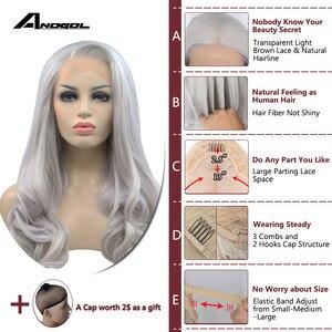 Image 3 - Anogol ücretsiz kısmı uzun doğal dalgalı yüksek sıcaklık Fiber gümüş gri sentetik dantel ön peruk kadınlar için