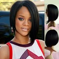 Straight black long wigs bobs style african american celebrity wigs Natural hair synthetic hair wigs for black women Rihanna's