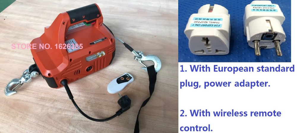 Wireless Control Electric Hoist 500KG X 4.6M Portable Household Electric Winch