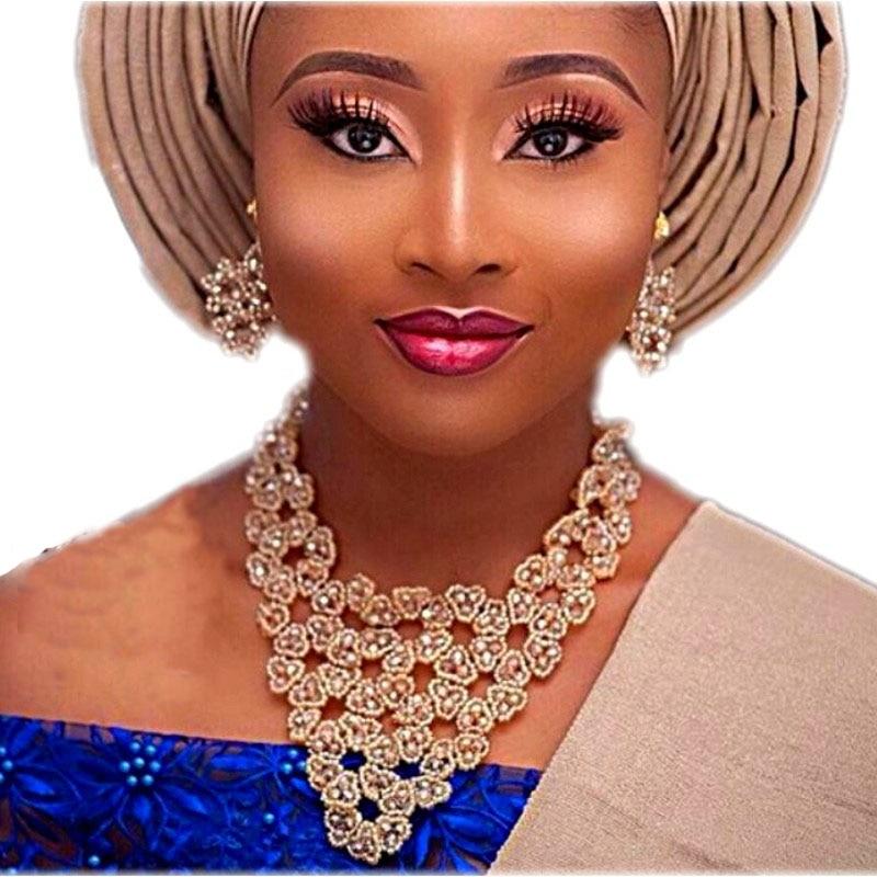 Nigerian Jewelry Set for Women Handmade Flower Triangle Bridal Bracelet Earrings Necklace Set Jewelry Fashion Wedding Jewellery