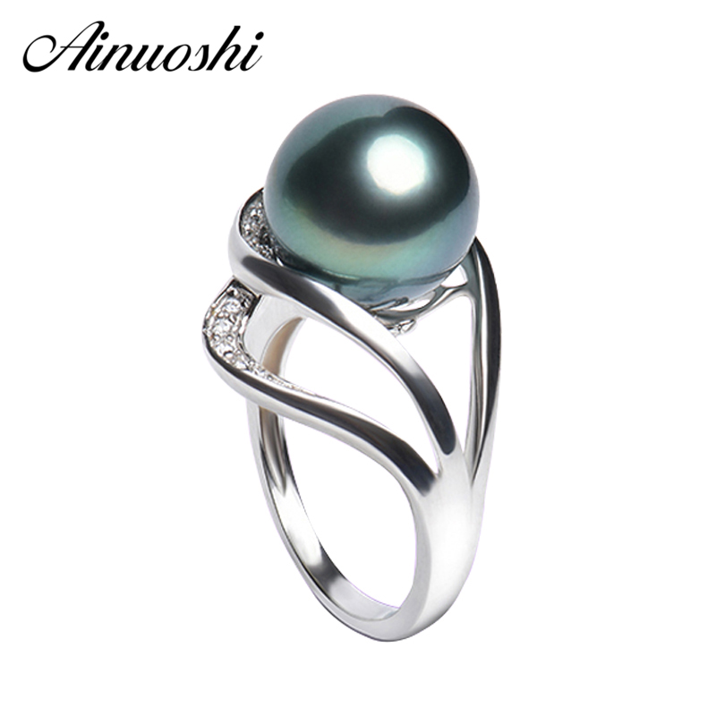 AINUOSHI Custom Tahitian Cultured Pearl Ring 925 Sterling Silver 10mm Natural Sea Round Pearl Ring Women Wedding Silver Jewelry ainuoshi 925 sterling silver leaves shaped pearl earrings 9 5 10mm natural tahitian black pearl round pearl lover stud earrings
