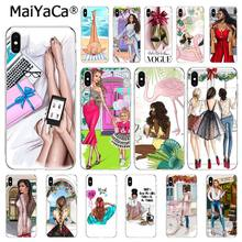 MaiYaCa Fashion Brown Hair Baby Mom Girl Vogue Coffee Phone Case For iphone 11 Pro 11Pro Max 8 7 6 6S Plus 5 5S SE XR X XS MAX(China)