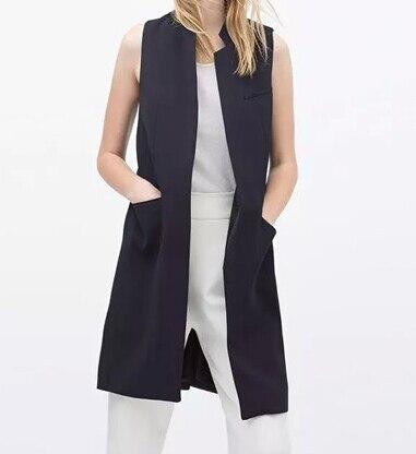 2017 Новых Женщин способа белый черный длинный жилет пальто Европейский стиль жилет без рукавов куртка вернуться сплит верхней одежды случайные veat