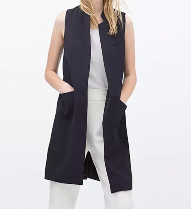 2017 New fashion Women white black long vest coat Europen style waistcoat sleeveless jacket back split outwear casual veat