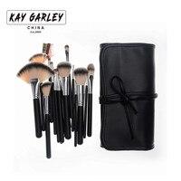 KAY GARLEY Profesjonalna 18 sztuk Makeup Muśnięcie ustawia Przenośne Miękkie Włosy Syntetyczne Kolekcja Kosmetyczne Szczotki Makijaż Szczotki Zestawy Narzędzi