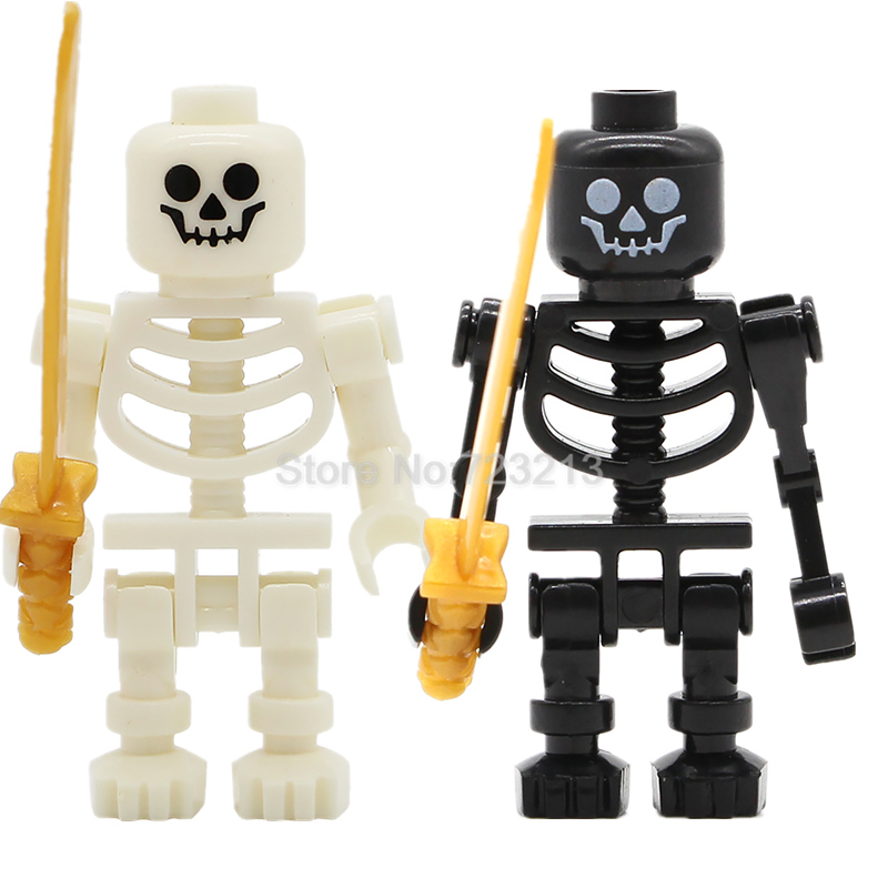 Single Sale Ninja White Skeleton Knight Figure Skull Castle Knights Army Model Set Building Blocks Kit Brick Toys For Children