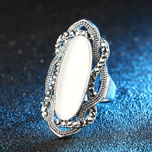 Bohemian Style Original White Opal Ring