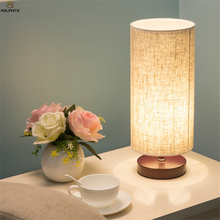 Nordic solid wood table lamp modern minimalist Fabric Cylindrical lamps table Bedroom bedside living room LED lighting Fixtures table lamps princess modern minimalist bedroom bedside lamp wedding garden