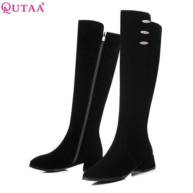 5bc8c4c4f0540 QUTAA 2019 moda mujer Zapatos Mujer rodilla alta botas plataforma Tacón  cuadrado todo fósforo invierno botas
