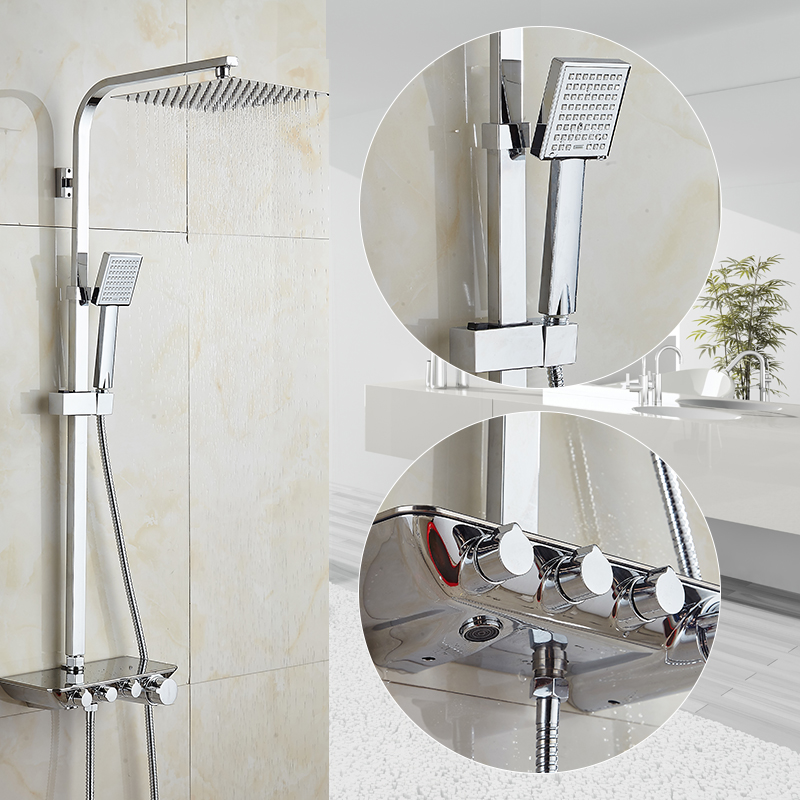 Modern Simple Bathroom Rainfall Thermostatic Shower Faucet Set Chrome Mixer Taps With Hand Shower Square Head Shower Set 88321 chrome bathroom thermostatic mixer shower faucet set dual handles wall mount bath shower kit with 8 rainfall showerhead