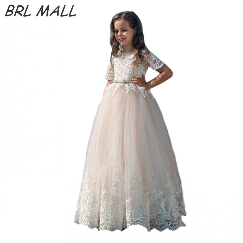 Lovely Short Sleeves   flower     girl     dresses   2018 Lace Appliques   girls     dresses   for wedding first communion   dresses   for   girl