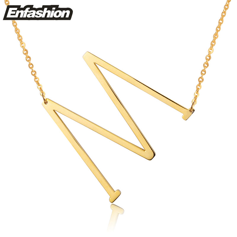EnFashion Letter Necklaces Alphabet Initial Pendants Necklace Gold Color Stainless Steel Choker Necklace for Women Jewelry in Pendant Necklaces from Jewelry Accessories