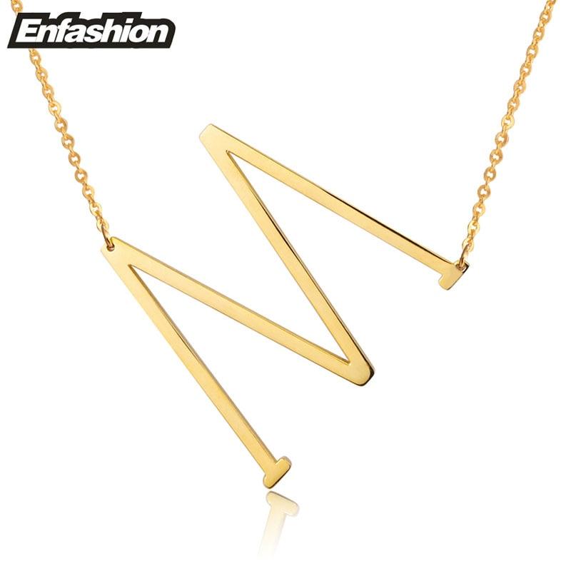 Kalung Reka bentuk EnFashion Alphabet Kalung Loket Awal Warna Emas - Perhiasan fesyen - Foto 4