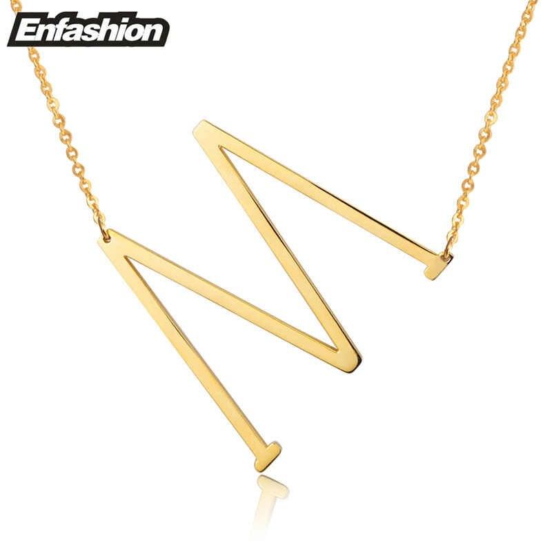 Moda collares mujer de plata letra inicial collar 24 K chapado en oro del alfabeto collar collar joyería mujer acero inoxidable