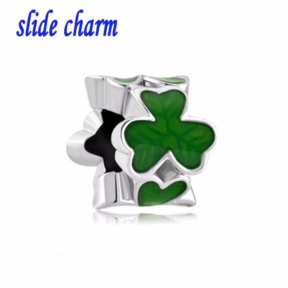 slide charm Free shipping Fashion personality gift green shamrock painted floral charm beads fit Pandora bracelet