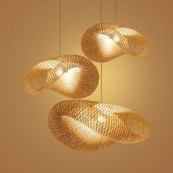 Yaratıcı El Yapımı Bambu Kolye Işıkları Oturma Odası Ev Dekor Kolye Lamba Basit Kişilik Yemek Odası Bambu Hasır Şapka Lambası