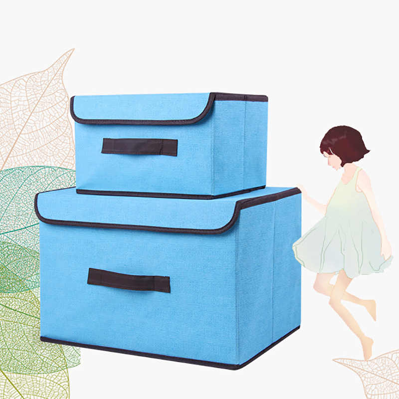 BASUPPLY Non-woven Fabric Storage Box With Cap Foldable Clothes Sock Storage BinToys Snacks Sundries Cosmetics Organizer 2 Sizes