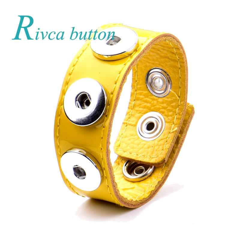 6Pcs/lot Rivca Leather Bracelet With Alloy Buckle Fit 18mm Ginger Snap Button Adjustable Women&Men Charms Bracelet Jewelry P2000 ...