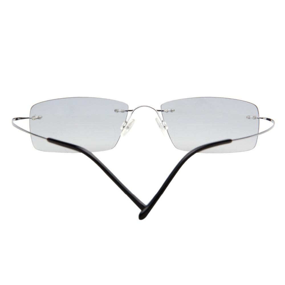 LianSan Mode Vintage Titanium Rimless Kacamata Baca Bifocal Wanita - Aksesori pakaian - Foto 4