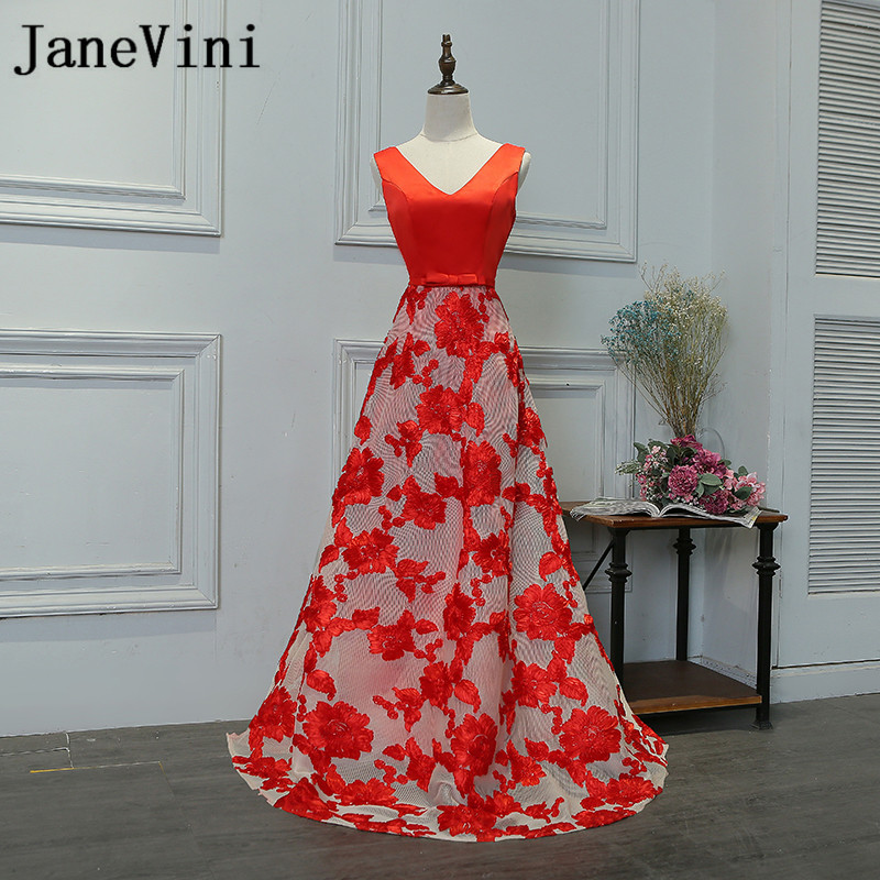 JaneVini Red Lace Long   Bridesmaids     Dresses   2018 Sexy V-Neck Wedding Guest Party   Dresses   A Line Prom Gowns Kleid Brautjungfer