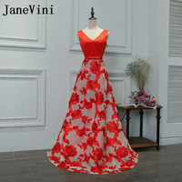 JaneVini Red Lace Long Bridesmaids Dresses 2018 Sexy V Neck Wedding Guest Party Dresses A Line