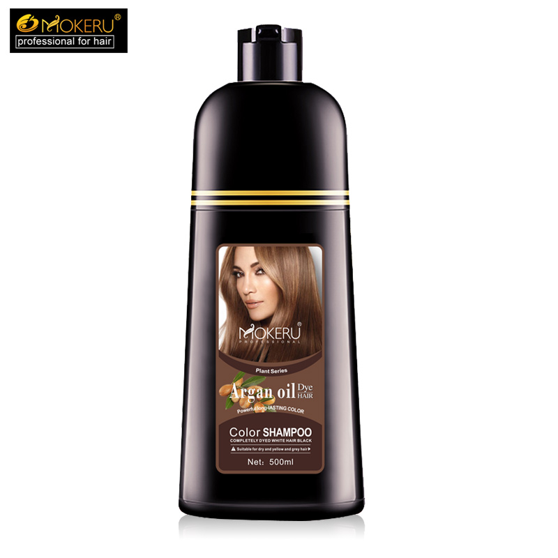 Image 2 - 1pc 500ml Mokeru organic hair dying good effect long lasting argan oil hair dye shampoo for cover gray hair-in Hair Color from Beauty & Health