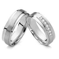 Luxus Hochzeit Band Versprechen Ring Nie Verblassen Silber Weiß Goldfarbe Einzigartige und Ihn Titan Schmuck Paare Ring