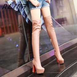 RLINF New Over-the-knee Sexy Stovepipe Thick with High Tube Super High Heel Women's Boots