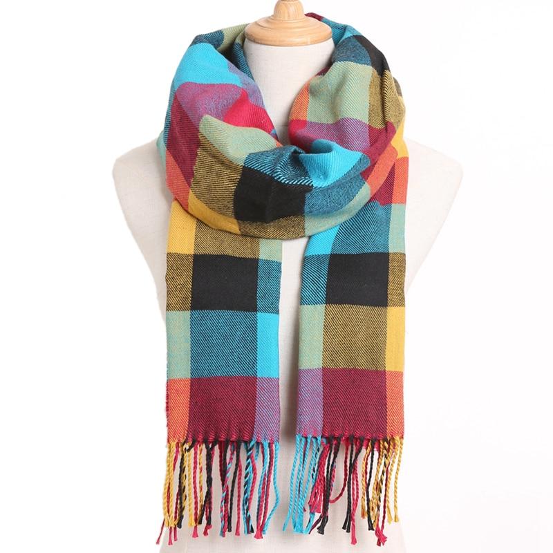 [VIANOSI] клетчатый зимний шарф женский тёплый платок одноцветные шарфы модные шарфы на каждый день кашемировые шарфы - Цвет: 12