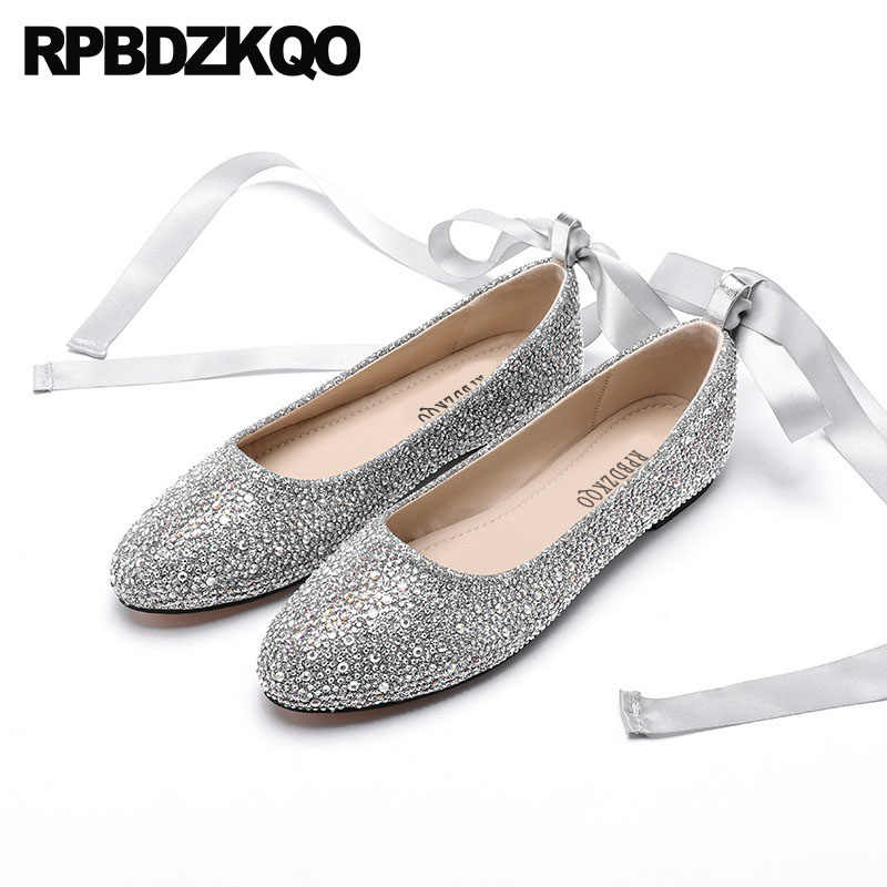 fb6869e6e large size silk wedding ballet shoes dress glitter ballerina sequin women  silver rhinestone 11 slip on