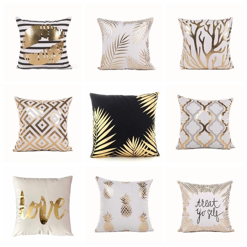 Ins Black And White Velvet Cushion Decorative Pillows Bronzing Gold Foil Pillowcase Home Decor Sofa Throw Pillow Almofada 17inch