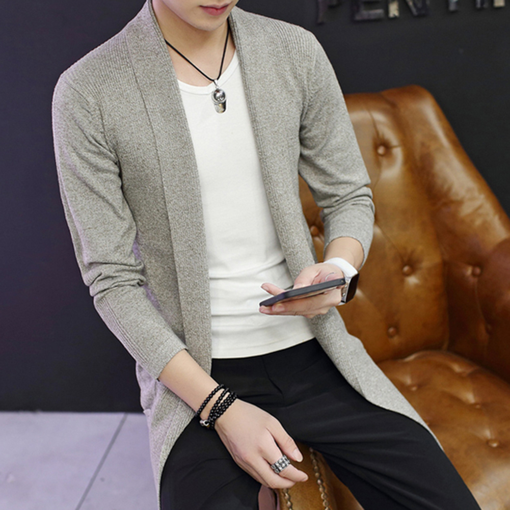 Md-Long Long Sleeve Knitted Cardigan Men's Solid Color Coat Slim Fit Outwear