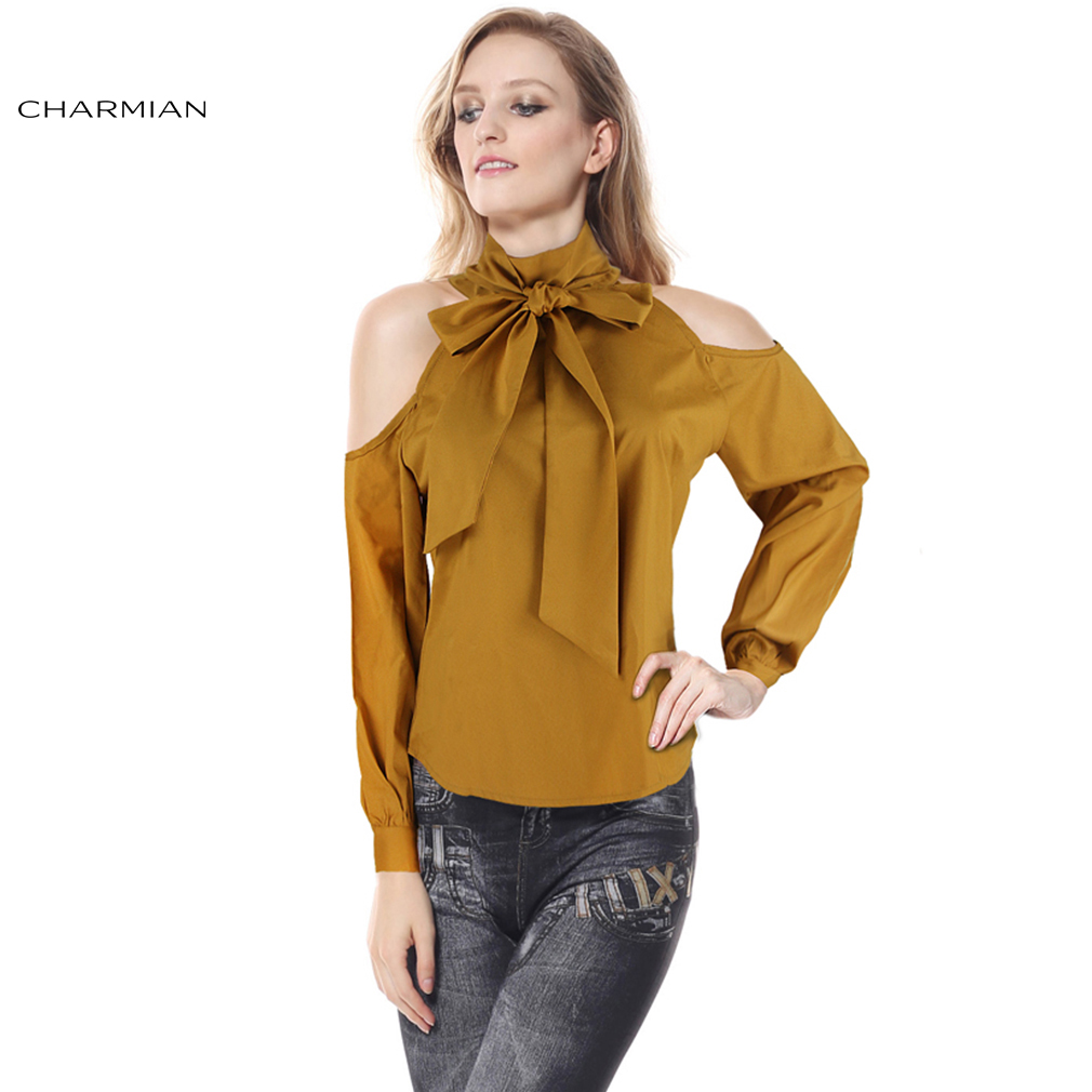 Chairman Moda Otoño Blusa Amarilla Sexy Hombro Camisa para
