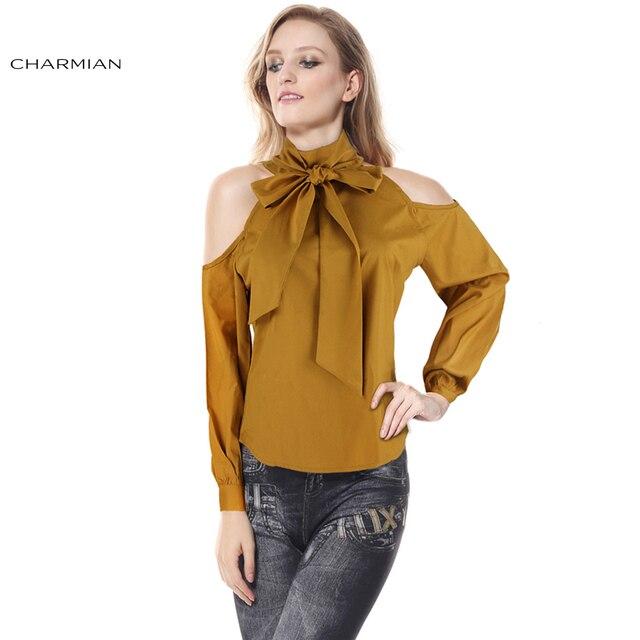 cc50401fb4c8 Charmian Moda Outono Blusa Amarela Sexy Fora Da Camisa Do Ombro para a  Mulher Elegante Senhora