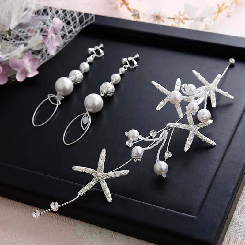 Romantic Starfish Wedding Jewelry Sets For Bridal Women Top Quality Handmade Pearl Stone Hairbands Earring Sets Dress Accessory