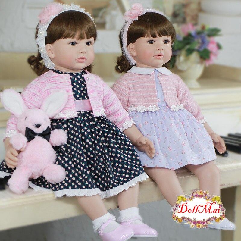 60cm Silicone Reborn Baby Doll Toys For Children 24inch Vinyl Toddler Princess Girls Babies Dolls Kids Birthday Gift Play House
