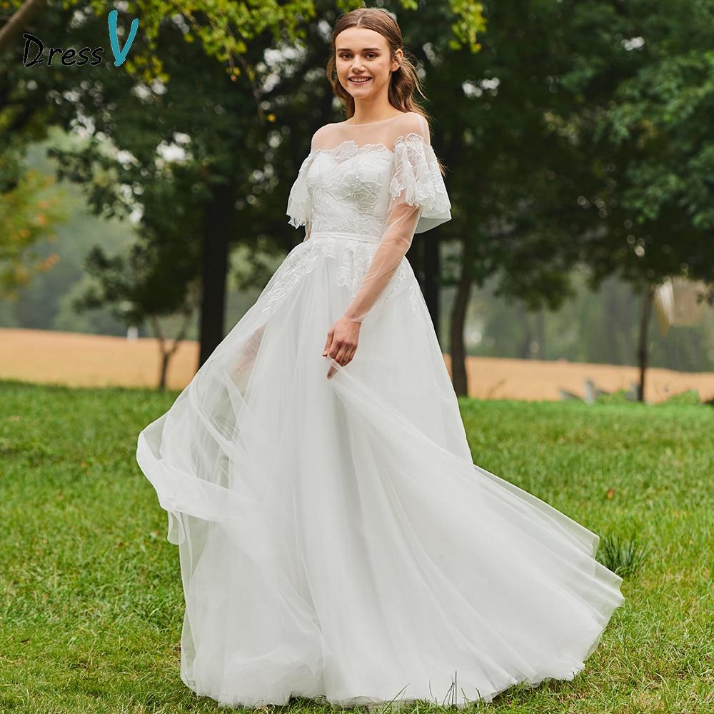 Elegant Lace Sleeve Short Wedding Dresses 2016 Scoop Neck: Dressv Elegant Scoop Neck Wedding Dress A Line Floor