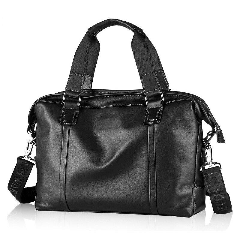 Luxury Cowhide men's business briefcase / Genuine leather man vintage cross-body one shoulder handbag / Luxury leather bag