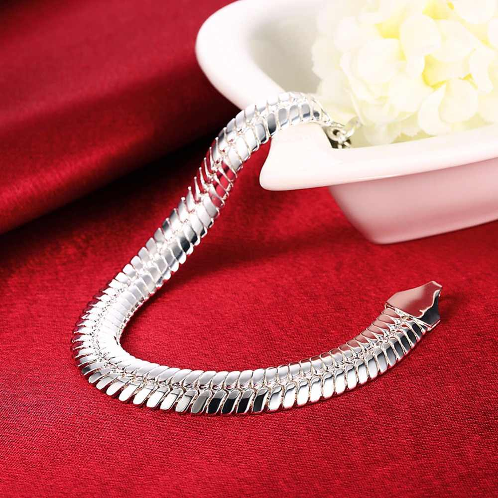 Men's Jewelry 10mm chains 21cm silver plated snake bone chains bracelets bangles pulseira masculina Silver 925 Jewelry