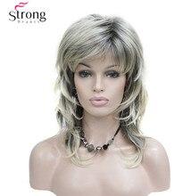Женская Плеча Длина Многоуровневая Синтетический Волос Парик блондинка с темные корни Ombre Парики волос