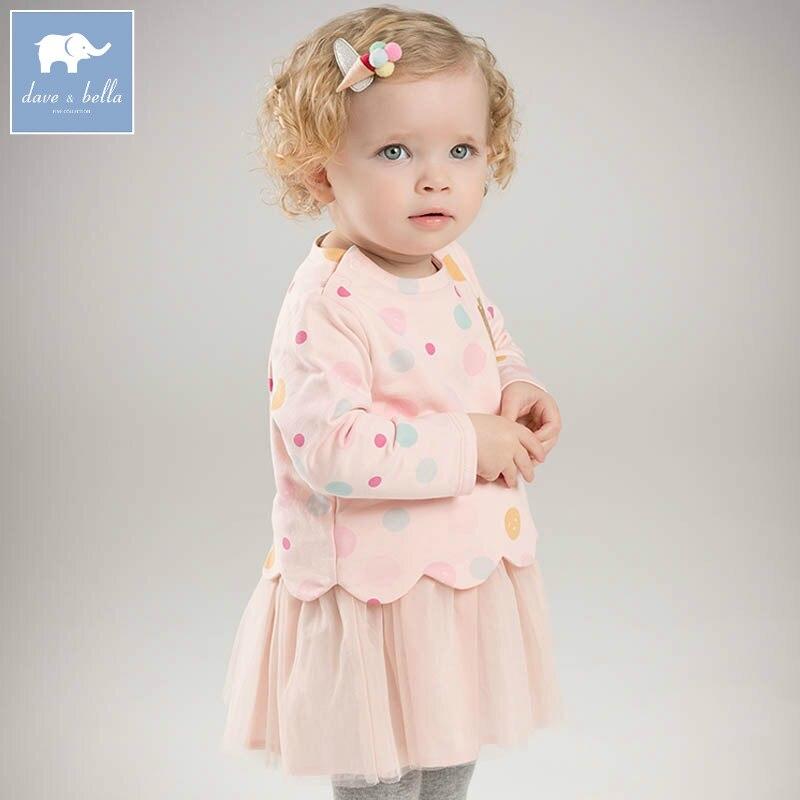 DBZ7310 dave bella spring baby girls princess dress stylish kids color print clothes toddler children dress striped print color block cami dress