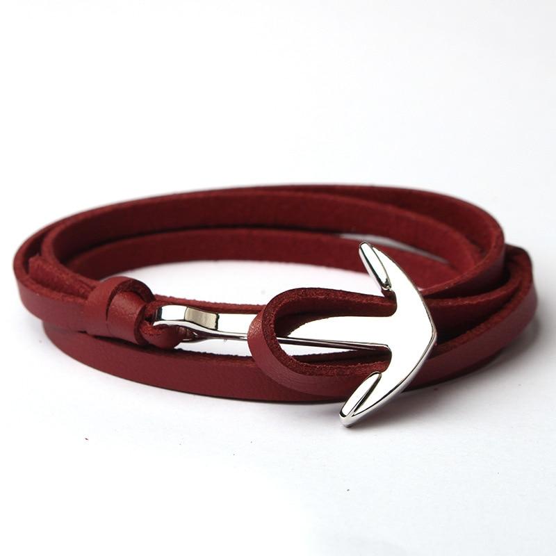 NIUYITID Men Anchor Bracelet Jewelry Brown Black Rope Chain Leather Bracelets Trendy 2019 Unisex Women Man Bracelent Male (6)