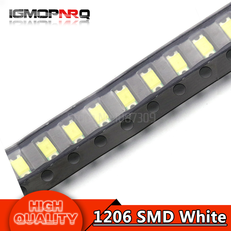 100pcs White 1206 SMD LED diodes light 3216(China)