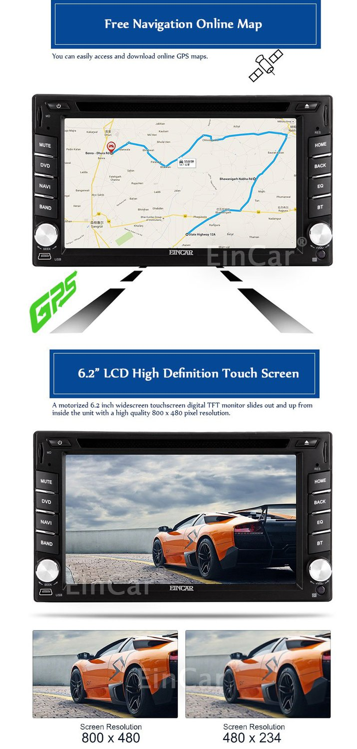 Aliexpress com buy eincar 6 2 inch android double 2 din car dvd player gps navigation car stereo radio video audio gps wifi dongle free rear camera from