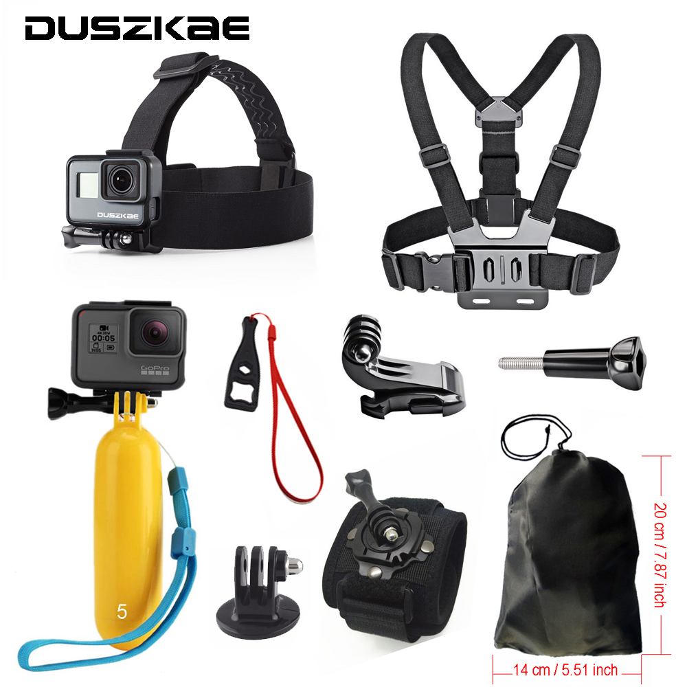 Accessories set for Gopro hero 5 Xiaomi Yi 4K Chest Head Mount Strap Float bobber For Go pro SJCAM Eken Sport Action Camera gopro accessories head belt strap mount adjustable elastic for gopro hero 4 3 2 1 sjcam xiaomi yi camera vp202 free shipping