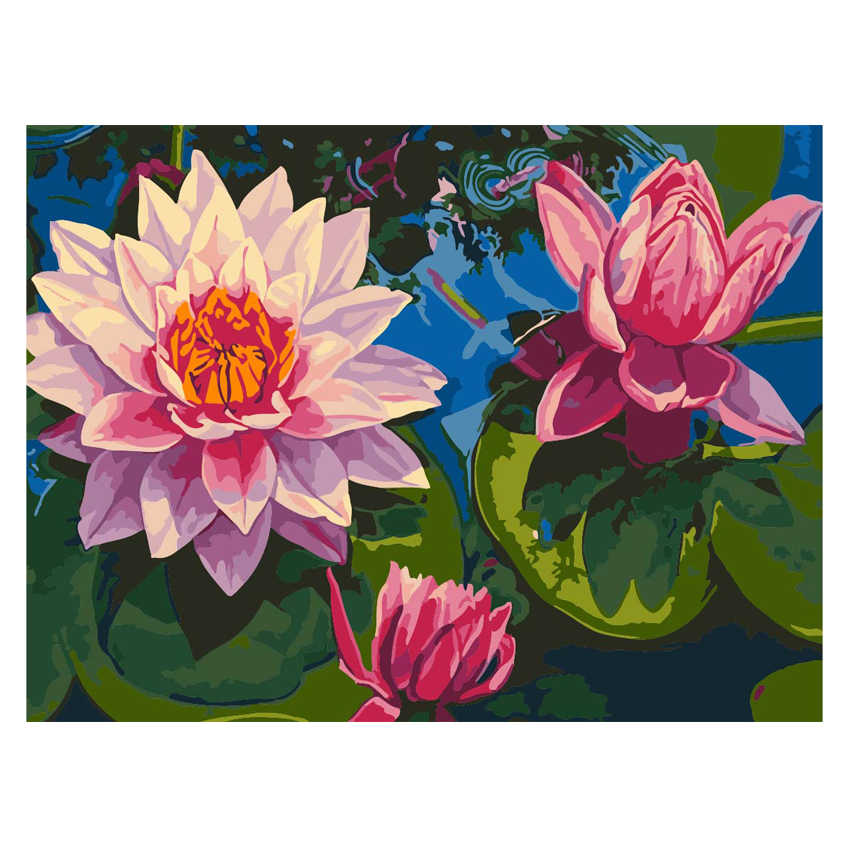 WEEN Pink lotus flowers-DIY Painting By Numbers kit, Acrylic Paint,Hand Painted Oil On Canvas,Paint 40x50cm