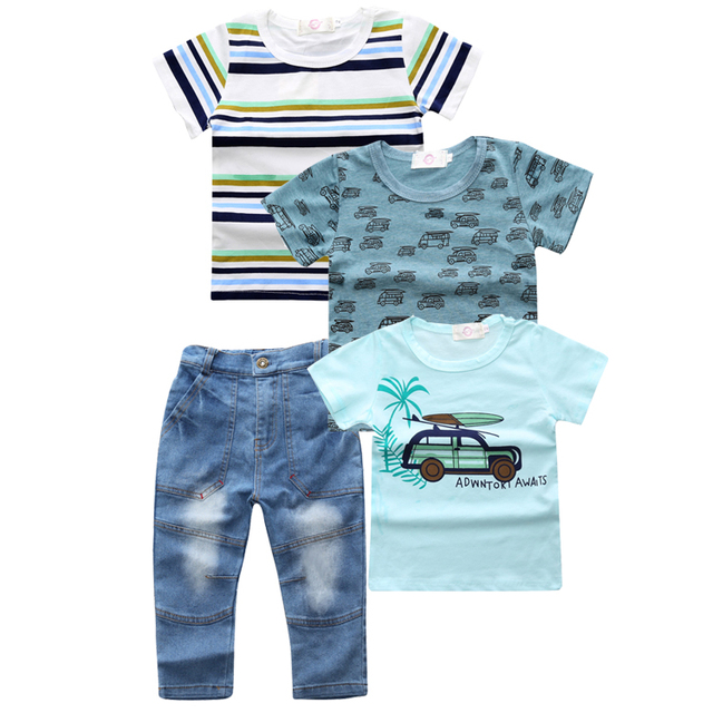 ST254 Summer Fashion for Children sets baby clothes boy children 4 pcs set striped t-shirts + blue t-shirt car + T-shirt + jeans