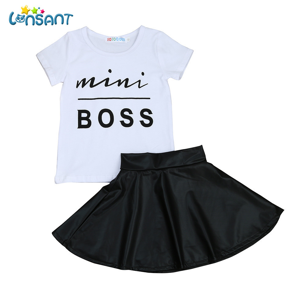 все цены на LONSANT Hot Toddler Kids Baby Girls Letter Short Sleeve Cute T Shirt Tops+Skirt Dress Outfits Summer Clothes Set онлайн